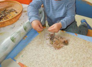 Wir bauen einen Ameisenhaufen.